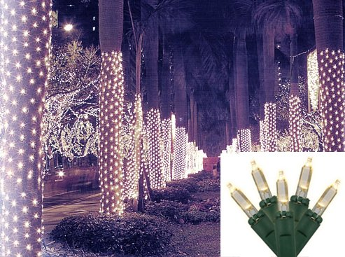 2' X 8' Warm White Led Net Style Tree Trunk Wrap Christmas Lights - Green Wire
