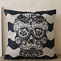 Linkwell(TM) Big Wave Black Skull with Cross with Cross in the Forehead Halloween All Hallows' Eve Linen Cushion Cover Pillow Case Mexican Day of the Dead Calavera All Souls Day D¨ªa De Muertos by Linkwell Home Decor