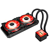 upHere Technology All-in-One High Performance Water Liquid CPU Cooler with Dual Adjustable 240mm PWM Fan,Red LED (AM4 Compatible) CC2401 (Color: CC2401 Red LED, Tamaño: 240mm)