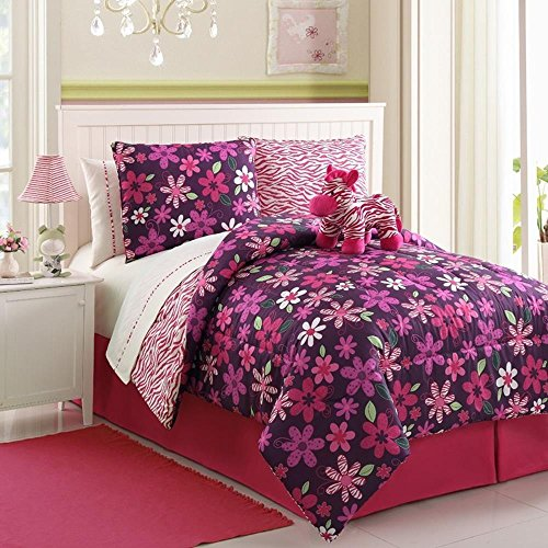 Girls Pink Animal And Flower Print Comforter Set With Sheets (Twin Size) front-948674