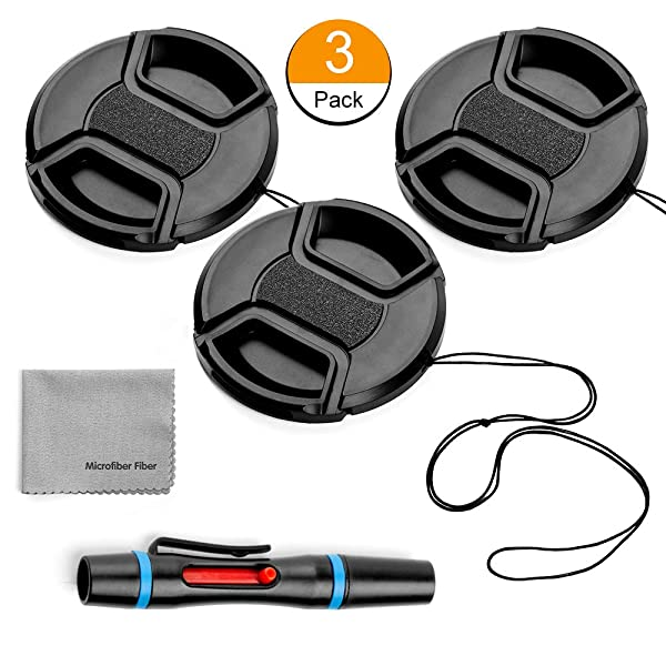55mm Lens Cap Bundle, 3 Pack Universal Snap on Front Centre Pinch Lens Cover Set with Microfiber Lens Cleaning Cloth for Canon Nikon Sony Olympus DSLR Camera + Camera Lens Cleaning Pen (Tamaño: 55mm)