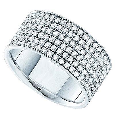 2.00 Carat (ctw) 14K White Gold Round Diamond Ladies Fashion Bridal Wedding Band 2 CT