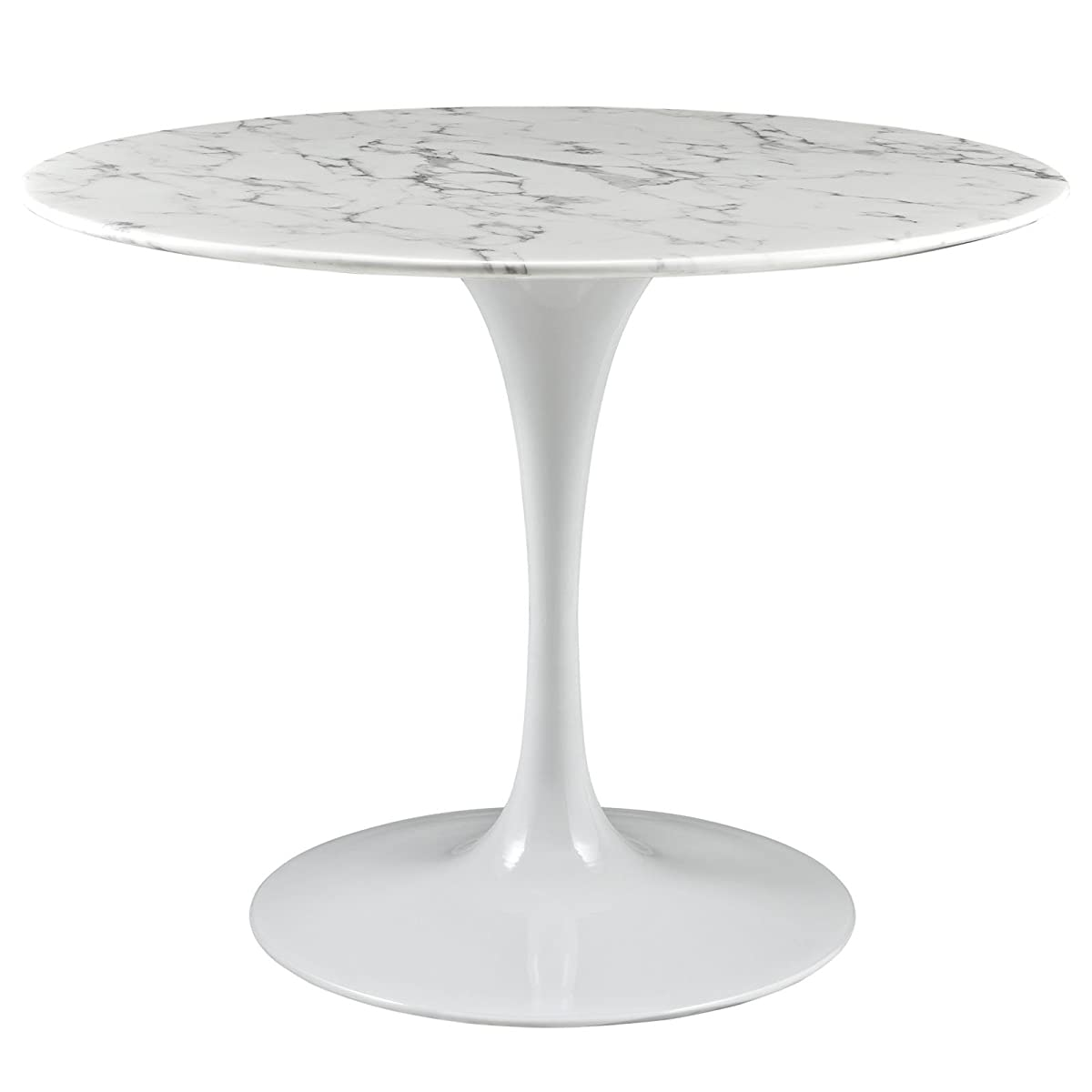 "Modway Lippa 40"" Artificial Marble Dining Table in White"