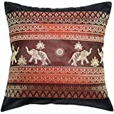Avarada Print Elephant Sun Throw Pillow Cover Decorative Sofa Couch Cushion Cover Zippered 16x16 Inch (40x40 cm) Black Red