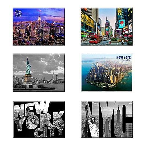 UNIVERSAL SOUVENIR 6 Set New York NYC Souvenir Photo Picture Fridge Magnets 2 x 3 inch - Pack of 6 (Fridge Magnet New York compare prices)