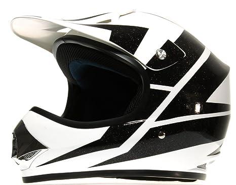 Rokx RM059-371-YM Casque de Moto Cross Enfant Noir et  Blanc Brilliant