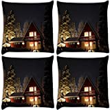 Snoogg Road Way At Night Pack Of 4 Digitally Printed Cushion Cover Pillows 16 X 16 Inch