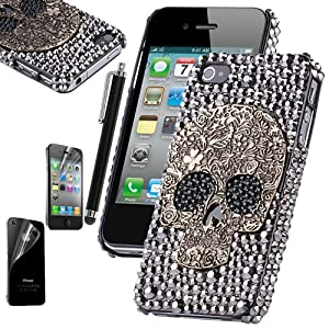 Pandamimi ULAK Skull Silver Diamond Bling Case Cover Skin for Apple iPhone 4 / 4S / 4G with Screen Protector and Stylus from ULAK