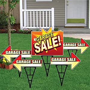 amazon com garage sale sign set with arrows and main square sign package of 5 deluxe yard