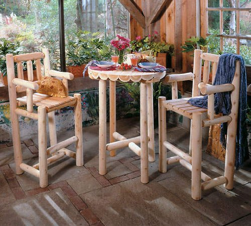 3 Piece Log Cafe Bistro Set