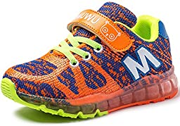 iDuoDuo Kids Contrast Color Breathable Knit Mesh Outdoor Running Shoes (Toddler/Little Kid/Big Kid) (3.5 M US Big Kid, Orange)