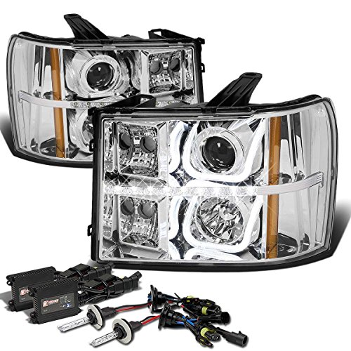 GMC Sierra GMT 900 Halo Projector LED Headlight+6,000K H1 HID+Slim Ballasts (Chrome Housing Amber Reflector)