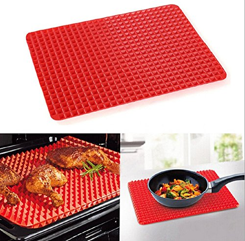 Best Baking Mat,Silicone Non-stick Healthy Heat Resistant Raised Pyramid Shaped Silicone Cooking Roasting Barbecue Pastry Grill Pad,Red