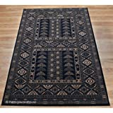 Afghan Khorasan New Zealand Wool Black Rug 160x230cm (5'3''x7'6'')