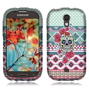 Nextkin Samsung Galaxy Light T399 Silicone Skin Soft TPU Gel Protector Cover Case - Skull Flower Aztec