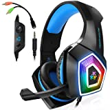 Xbox One Gaming Headset for PS4,PC,LED Light On Ear Headphone with Mic for Mac,Laptop,Nintendo Switch Games (Blue) (Color: blue, Tamaño: 6 x 3 x 5 inches)