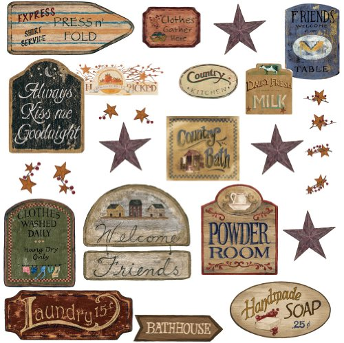 RoomMates RMK1175SCS Country Signs Peel & Stick Wall Decals