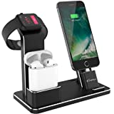 YoFeW Apple Watch Stand Aluminum 4 in 1 Apple Watch Charger Dock Accessories for AirPods Charging Docks Stand for Apple Watch Series 3/ 2/ 1/ AirPods/ iPhone 8/ 8 Plus/ 7/ 7 Plus /6s iPad Black (Color: Black Charging Dock)