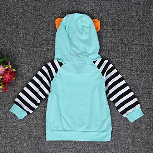 AMA(TM) Baby Girl Boy Striped Outfits Hooded Tops +Pants Outfits Clothes Set (3-6Month, Blue)