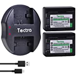 Tectra 2packs BP-718 Batteries and Charger for Canon Vixia HFR80, HFR82, HFR800, HFR70, HFR72, HFR700, HFM500, HFR30, HFR32, HFR300, HFR40, HFR42, HFR400, HFR50, HFR52, HFR500, HFR60, HFR62, HFR600
