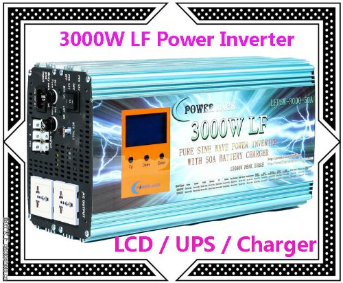 """3000 Watt Continual 12000 Watt Surge Low Frequency Pure Sine Wave Power Inverter Converter Transformer 48 V Dc Input / 220 V-240 V Ac Output 60 Hz Frequency With 50A Battery Charger Power Tools 3.5"""" Lcd/Ups/Charger"""