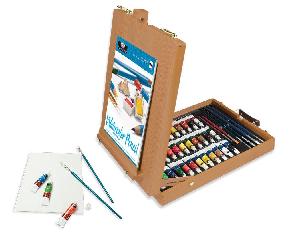 Estuche de pinturas con caballete y pinceles