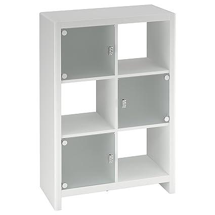 Bush Furniture Kathy Ireland Office 6-Cube Bookcase, Plumeria White Finish