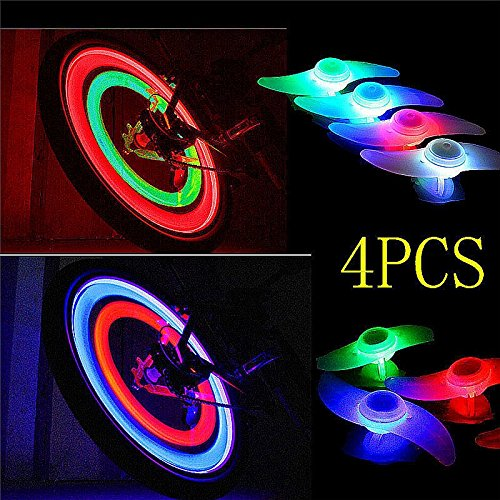 4 Pack Double Faced Bicycle Spoke Light Wind Fire Wheels Silica Gel Spoke Light Steel Wire Lamp Mountain Bike Wheel Light - Red,Blue,Green and Multi-color