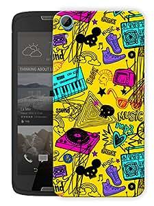 "Humor Gang Music Love Dj World Art Printed Designer Mobile Back Cover For ""HTC DESIRE 828"" (3D, Matte, Premium Quality Snap On Case)"
