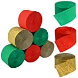 Crepe Paper Streamers for Christmas, Jerbro 738 Ft Red Green Gold Crepe Paper Roll Christmas Party Room Wall Decor, 9 Rolls (Color: red, gold, green)
