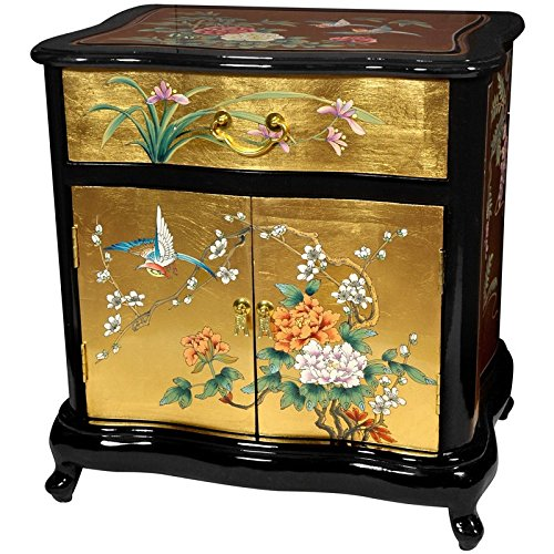 Oriental Furniture Fine Asian Furniture And Decor 23-Inch Chinese Black Lacquered Gold Leaf End Table Nightstand Ha-2019