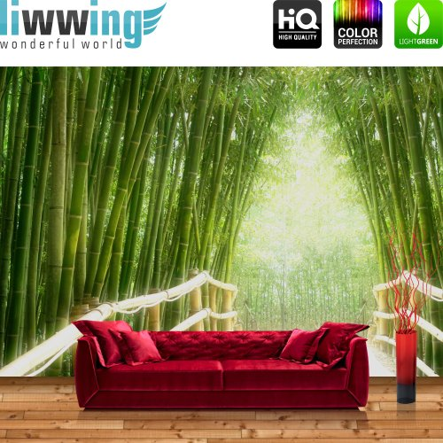 Vlies fototapete basic 400x280cm bamboo walk by liwwing r for Holz tapete weiay