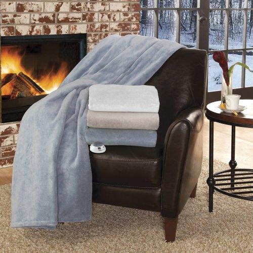 Soft Heat Soft Heat Macromink Electric Warming Throw, Linen, Mink