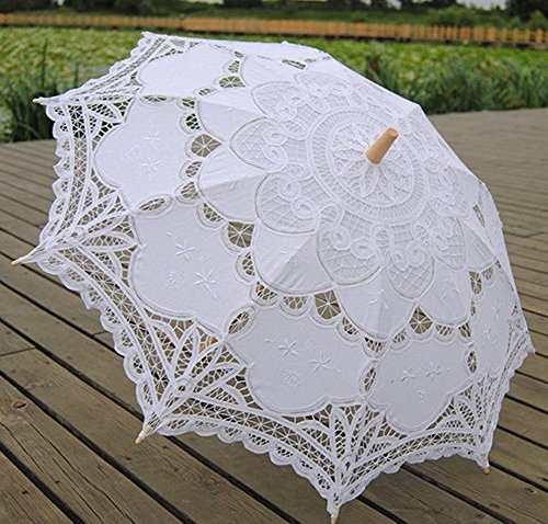 Tinksky Lace Umbrella Parasol Romantic Wedding Umbrella Photograph (White)