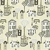 Linen / Grey / Black - 212445 - Jubilee Square - Options 11 - Sanderson Wallpaper