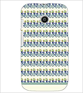 PrintDhaba Cycle Pattern D-1479 Back Case Cover for MOTOROLA MOTO E (Multi-Coloured)