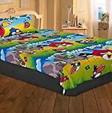 Combo of 2 pursho Designer Angry Birds Cartoon Kids Single with pillow cover Baby bed sheet and 1 SmartsBags Traveller Small Travel Bag - Small - PURSHO(TM)