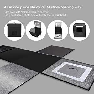ESDDI Photo Studio Light Box 20/50cm Adjustable Brightness Portable Folding Hook & Loop Professional Booth Table Top Photography Lighting Kit 120 LED