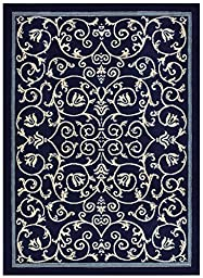 Conur Collection Floral Scroll Area Rug Rugs Modern Contemporary Traditional Area Rug Rugs Veronica 3 Color Options (Navy Blue, 4\'11\