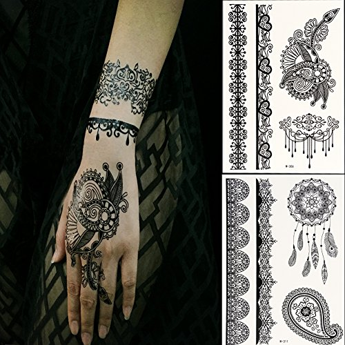 Generic black lace temporary tattoos for adventurous women for Fake tattoos amazon