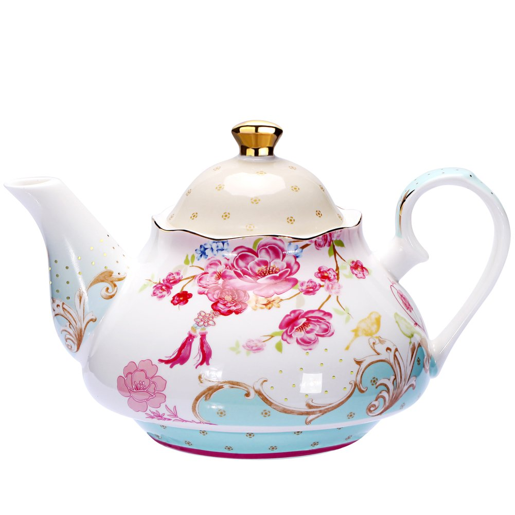 AWHOME Bone China Teapot Vintage Royal Style Red Floral -4 Cup 0