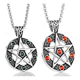 Stainless Steel Powerful Pentacle Necklaces Pentagram, Wicca Traditional Seal of Solomon Pendant, 23.5 Inch Curb Chain (Green Red (2pcs)) (Color: Black)