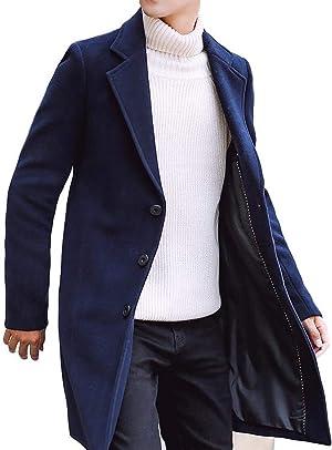 BENQUE(ベンケ) [ベンケ] コート メンズ チェスターコート 秋冬 ウール ロング ジャケット スリム 厚手 無地 暖かい 防寒 ビジネス 紳士服 M~2XL