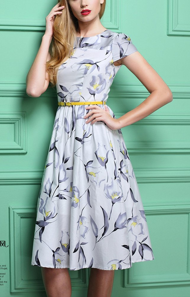 Olrain Womens Vintage Floral Printed Cap Sleeve Tea Dress with Belt 1
