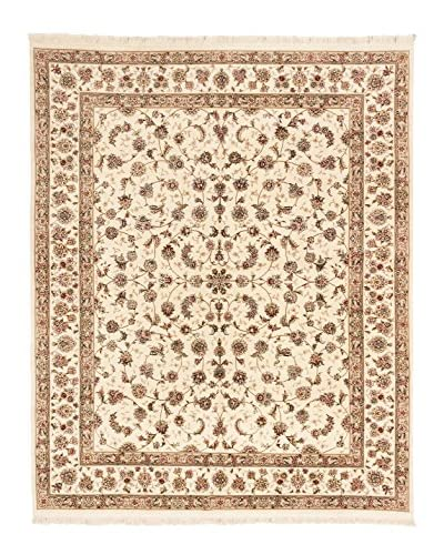 Hand-Knotted Sino Persian Wool & Silk Rug, Cream, 8' x 10'