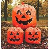 """Amscan Family Friendly Jack-O-Lantern Halloween Lawn Bags, Orange, 30"""" x 24"""""""