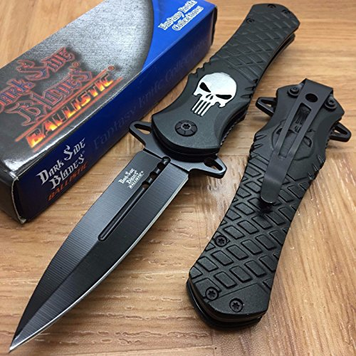 NEW Dark Side Blades Black Punisher Fantasy Tactical Folding Rescue Pocket Knife (Real Ninja Throwing Stars Set compare prices)