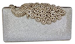 Chicastic Mesh Rhinestone Peacock Hard Box Wedding Cocktail Clutch Purse - Silver