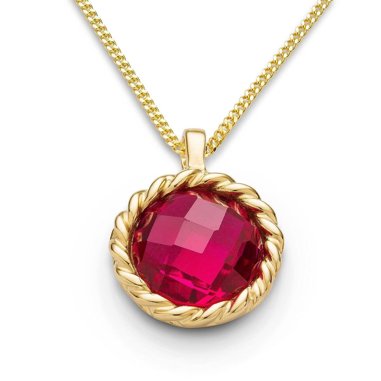 Miore Damen-Anhänger Damen-Halskette 9 Karat ( 375 )Granat Stein 3.0ct. Kette 45cm Gelbgold Quarz rot Rundschliff - MNA9067N