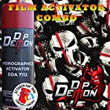 Combo Kit Thin Red Line Fire Fighter Tactical American Flag Skulls Hydrographic Water Transfer Film Activator Combo Kit Hydro Dipping Dip Demon (Tamaño: 16oz Can of Activator + 20